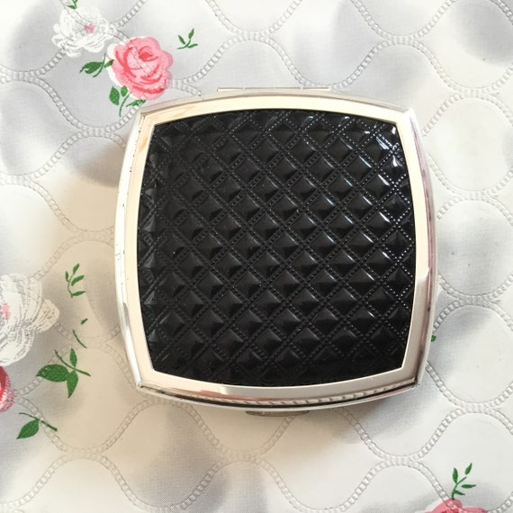 New Stratton black quilt faux leather compact mirror, square cushion shape, silver tone magnifying makeup dual mirror,