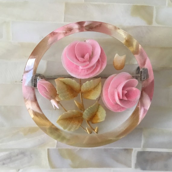 Vintage Reverse carved lucite brooch, c1950s, with pink roses