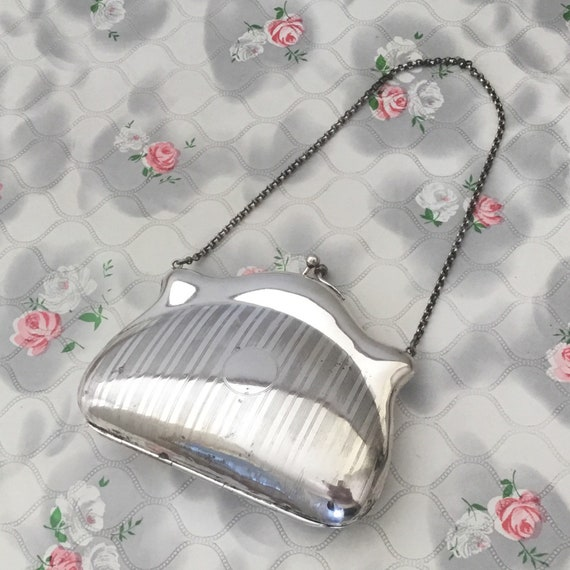 EPNS vintage Edwardian dance purse, c 1910s to 1920s engraved silver metal chatelaine bag or flapper coin purse,