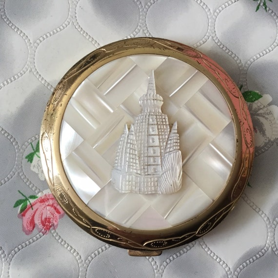 Vintage powder compact c 1950s or 1960s, with faux carved mother of pearl, handbag makeup mirror,