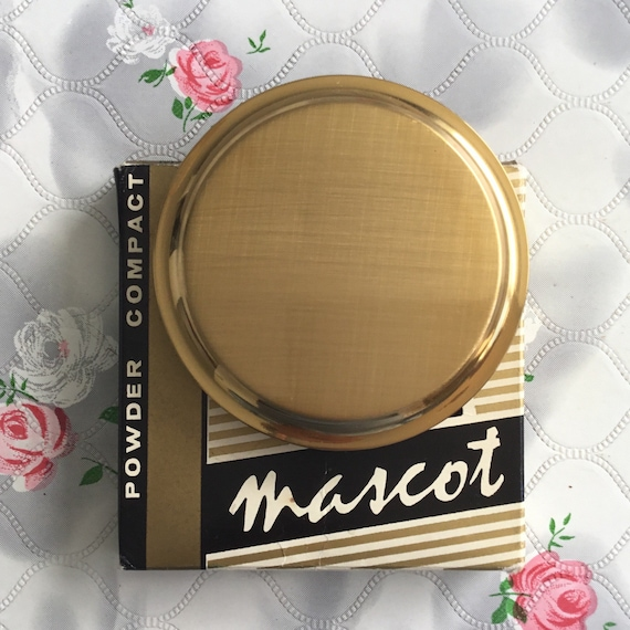 Mascot powder compact, unused vintage with box, 1960s or 1970s gold makeup mirror, vanity gift for her