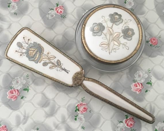 Regent of London vintage hairbrush and powder bowl set, c 1950s 1960s embroidered blue floral vanity dresser set