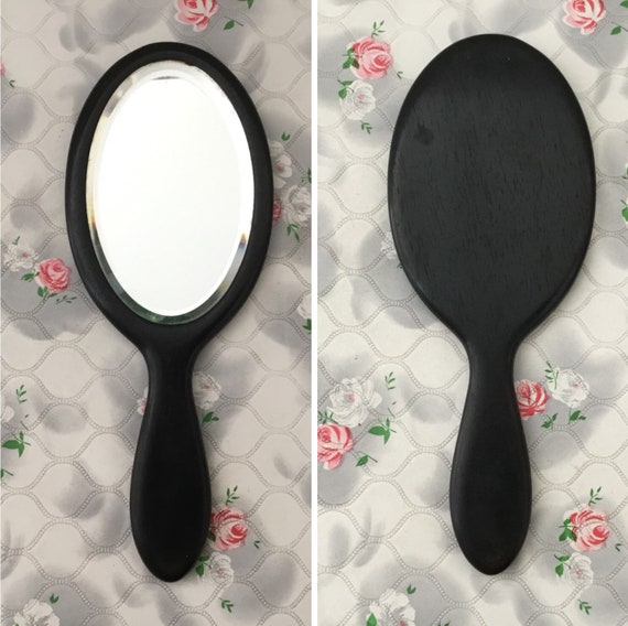 Real ebony dark wood hand mirror, c 1910s antique vanity mirror with oval bevelled glass
