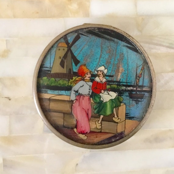 Butterfly wing powder compact c 1920s by Thomas L Mott, vintage Art Deco T.L.M makeup mirror with Dutch girls and windmill
