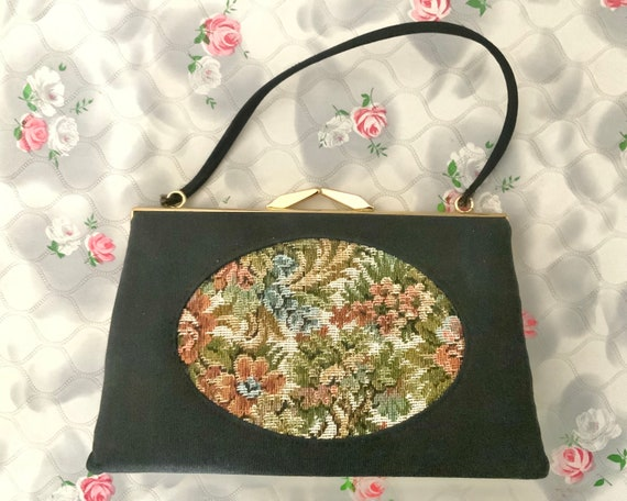 Tapestry bag with flowers, black vintage purse c 1960s or 1970s with wrist chain