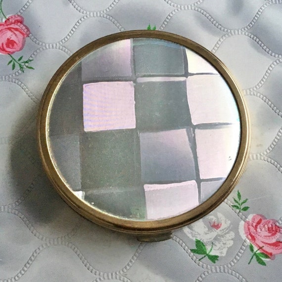 Vintage creme powder compact by Melissa, c1970, wood grain effect compact with roses