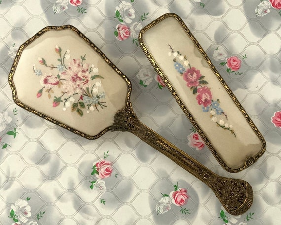 Delina hairbrush and clothes brush dressing table set, 1930s 1940s vintage petit point flowers vanity set