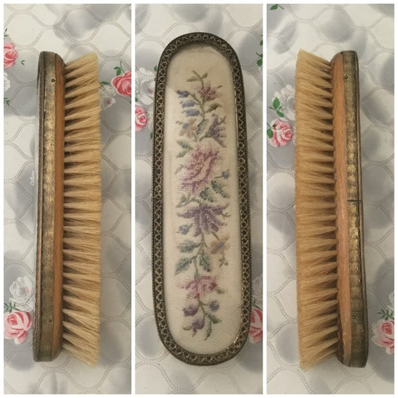 Ladies clothes brush with natural bristles and floral embroidery, c 1920s, vintage dressing table brush with petit point flowers