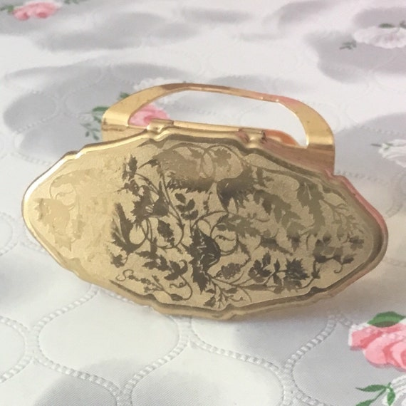 Stratton Lipview lipstick holder, 1990s gold tone compact lip mirror with roses, vintage handbag accessory