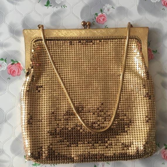 Gold metallic mesh evening purse, c 1970s alu-mesh chain mail party purse, mid-century vintage gift for her,