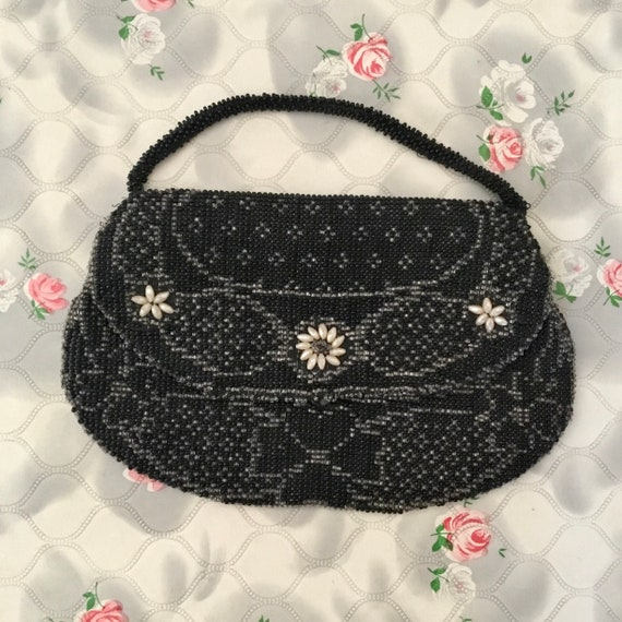 Art Deco beaded evening purse, c 1930s, vintage Czechoslovakian made vintage wristlet bag with black, silver and pearl beads
