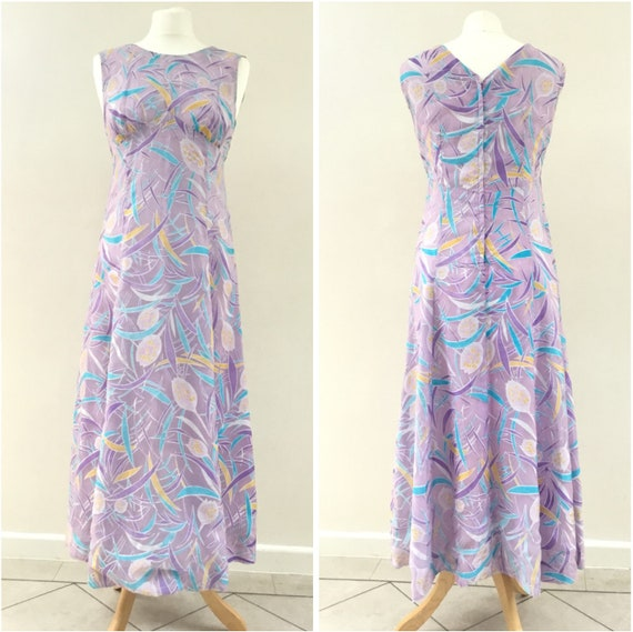 "Pink empire line dress with turquoise and lilac, UK size 8 to 10, 1950s long dress summer maxi dress with 34"" bust"