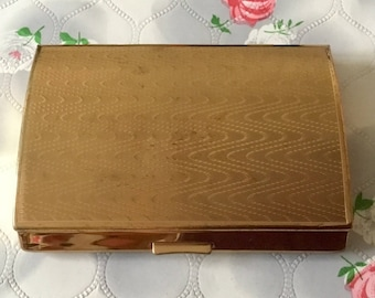 Melissa cigarette case, vintage cigarette case, ladies cigarette case, vintage business card case, gold tone cigarette case, card holder