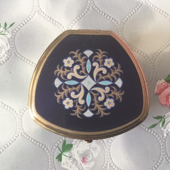 Stratton vintage adjustable Lipview lipstick holder and compact mirror, c 1970s blue and gold tone