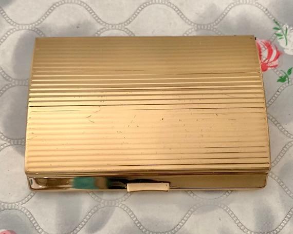 Ladies gold tone cigarette case by Melissa c 1960s, vintage smoking accessory