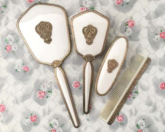 Regent of London vintage vanity set with hand mirror, hairbrush, comb and clothes brush, vintage mid century ladies dresser set c 1950s