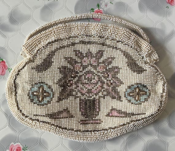Vintage beaded bag with tree c.1920s or 1930s, with pink, blue and white beads, for flapper or Gatsby party theme, or bride or bridesmaid