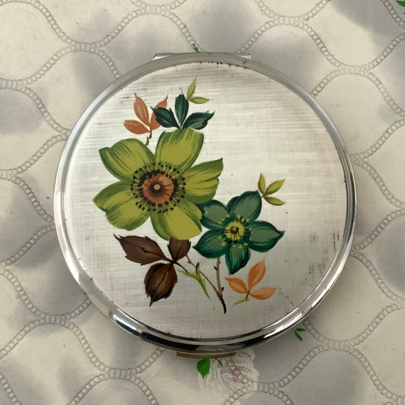 Stratton silver plated powder compact, c1960s 1970s blue sixties flower power makeup mirror