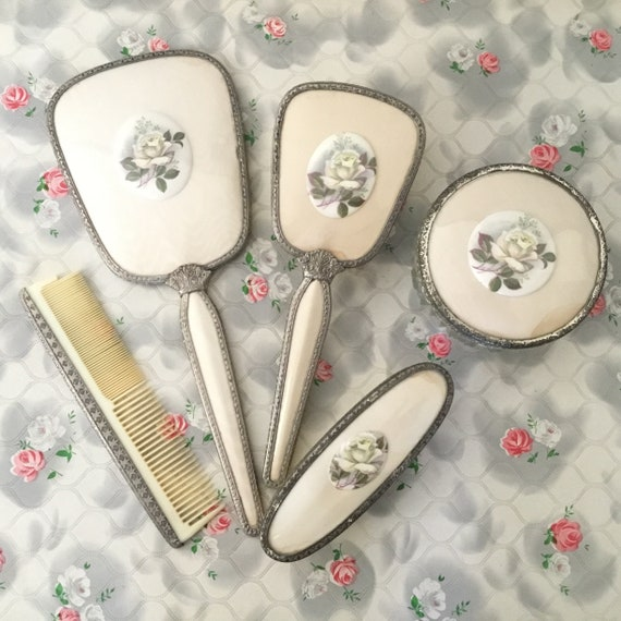 Regent of London vintage vanity set with hand mirror, hairbrush, comb, powder bowl and clothes brush, vintage lace and rose dresser set