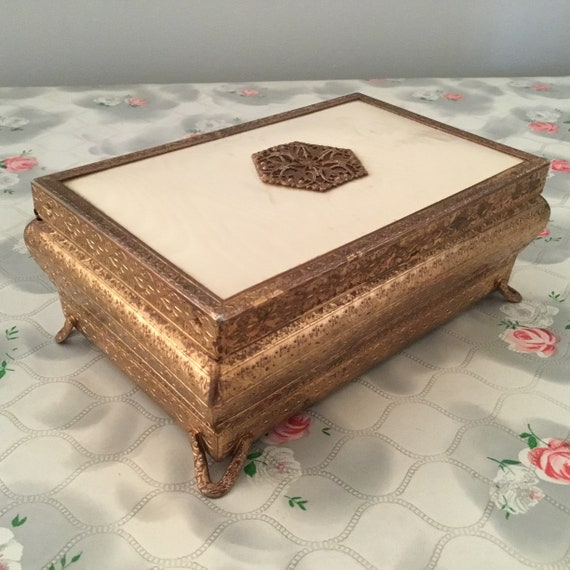 Regent of London jewellery box, with gold tone and cream fabric, mid-century dressing table trinket chest