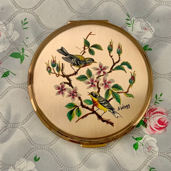 Stratton birds convertible powder compact c1950s to 1960s, vintage A Wagg makeup mirror