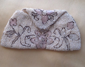 Beaded evening purse, 1930s beaded purse, vintage coin purse, pink floral evening bag, white beaded purse, brides clutch purse, gift for her