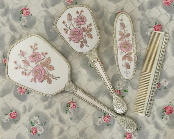 Regent of London dresser set with hand mirror, hairbrush, comb and clothes brush, vintage vanity set c1950 with pink roses embroidery