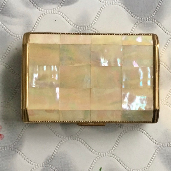 Melissa mother of pearl cigarette case c 1950s or 1960s, vintage ladies MOP cigarette case
