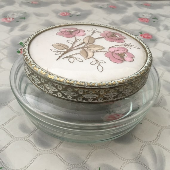 Regent of London glass powder bowl with pink floral embroidery, vintage c1950s or 1960s dressing table trinket pot