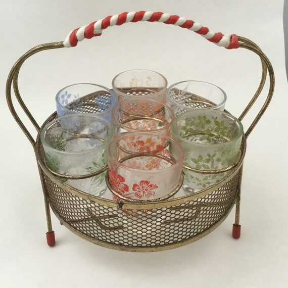 Atomic bar set with vintage shot glasses and red and white stand, mid century 1950s barware set with six retro glasses,