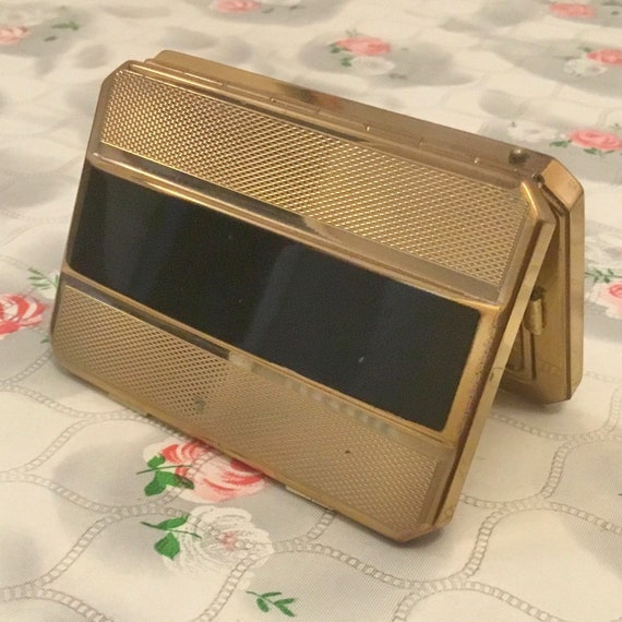 Stratton Star loose powder compact, gold and black c 1940s, vintage gold tone handbag accessory, slab makeup mirror