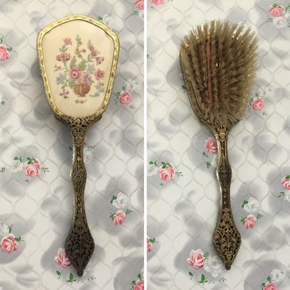 Hairbrush with petit point flowers, c1940s or 1950s, vintage Condor dressing table vanity brush with pink roses in a vase