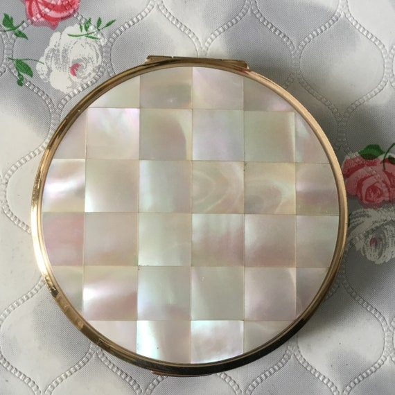 Vintage Mother of pearl Stratton convertible compact, c1960s or early 1970s