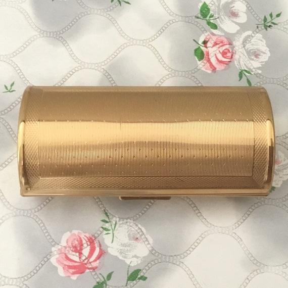Kigu ladies barrel cigarette case, c 1960s vintage gold metal lipstick holder, handbag accessory