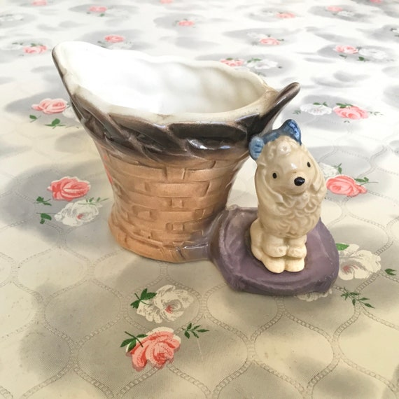 1950s Hornsea pottery planter with wicker basket and toy poodle, collectible vintage posy vase with dog,