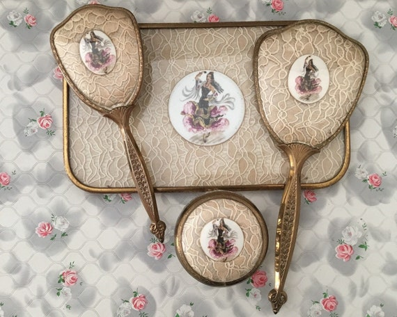 Lissco brush set with hand mirror, hairbrush, tray and powder bowl, with Spanish flamenco dancer and lace,