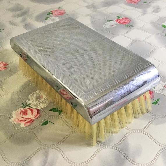 Men's silver metal hairbrush, gentlemen's vintage grooming travel brush
