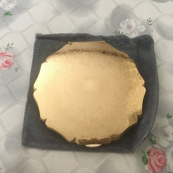 Stratton Queen convertible powder compact c1990s, unused vintage gold tone makeup mirror