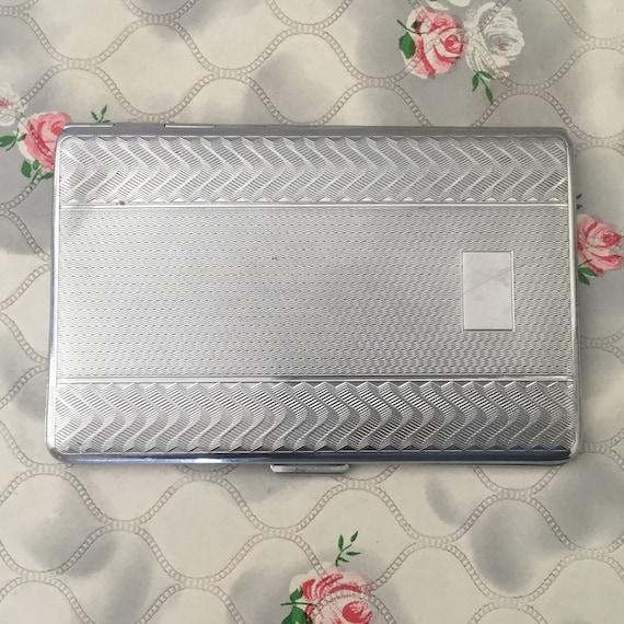 Har-bro cigarette case, vintage ladies or gents silver metal or chrome business card holder