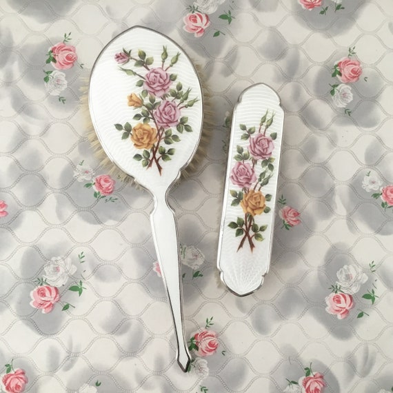 Vintage guilloche vanity dressing table set c 1940s or c1950 hairbrush and clothes brush, white with pink and yellow roses,