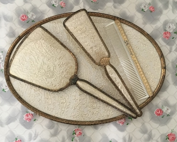 Regent of London vintage vanity set with hand mirror, hairbrush, comb and tray, 1950s gold fabric dresser set