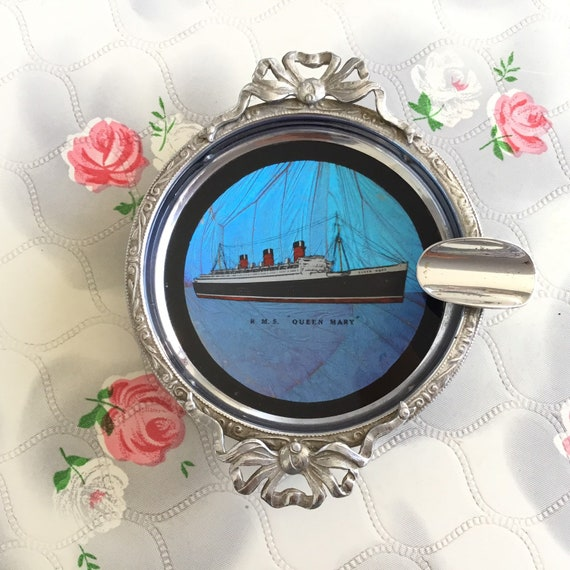 Butterfly wing ashtray with H.M.S Queen Mary cruise ship, unused vintage souvenir ashtray by Shipton co of England 202213