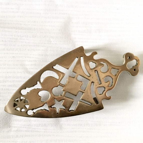 Vintage brass trivet or pot stand with sun moon and stars, flat iron trivet,