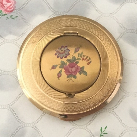 Kigu of London convertible powder compact c1950s or 1960s with photo frame, vintage makeup mirror