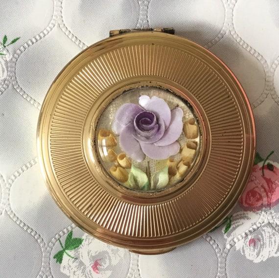 Kigu reverse carved lucite loose powder compact with lilac rose, vintage 1950s handbag makeup mirror
