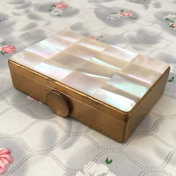 Elgin America Mother of Pearl loose duo powder compact, c 1950s vintage face powder box with makeup mirror,