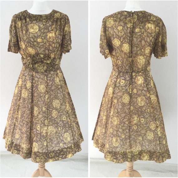1950s dress with yellow roses, UK Size 12 by Jean Lang Originals, vintage semi sheer summer evening dress