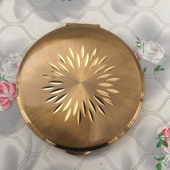 Kigu gold tone powder compact, c 1960s 1970s vintage makeup mirror, loose or solid powder compact
