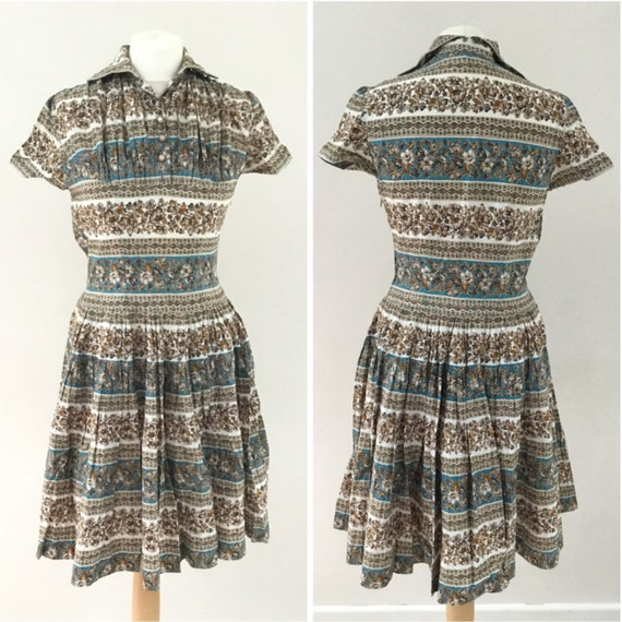 Vintage brown and blue stripes and floral shirt dress uk size 8 to 10, c 1950s or 1960s, with full pleated skirt