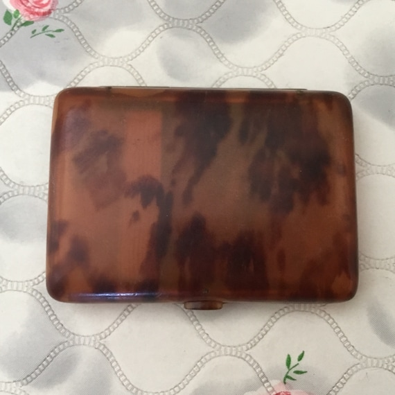Vintage plastic cigarette case with faux tortoise shell, brown amber celluloid c1920s or 1930s